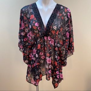 Chenault floral batwing sleeve blouse